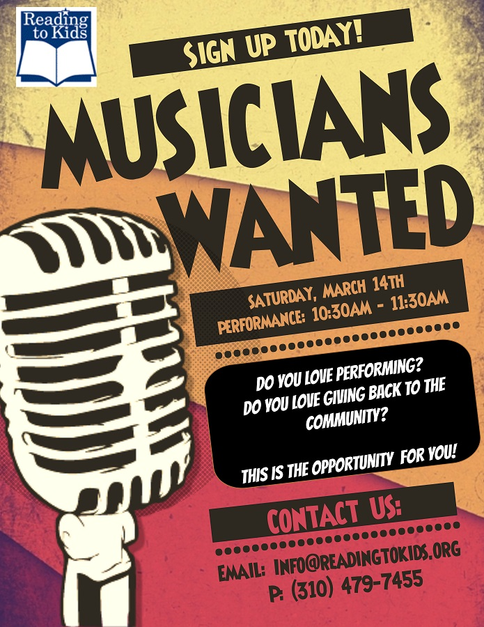 Reading to Kids Musicians Wanted Flyer